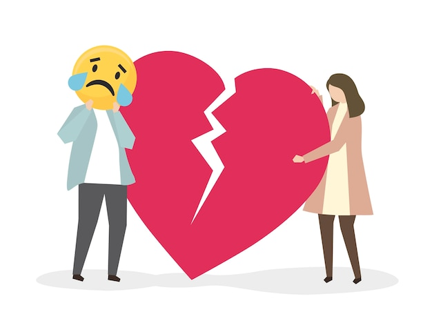 People suffering from heartbreak and sadness Free Vector