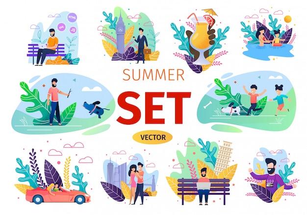 People summer activities flat vector concepts set Premium Vector