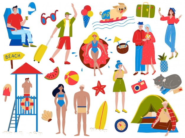 People in summer vacation  illustration set, cartoon  active woman man vacationers swim, sunbathe and relax  on white Premium Vector