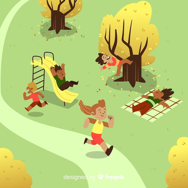 People on a sunny day in the park Free Vector
