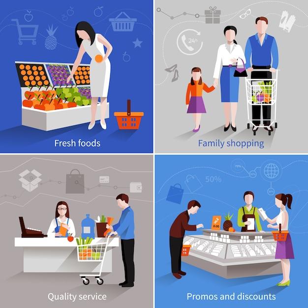 People in supermarket design concept set Free Vector