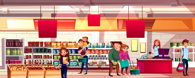 People in supermarket or grocery store illustration. family choosing food products Free Vector