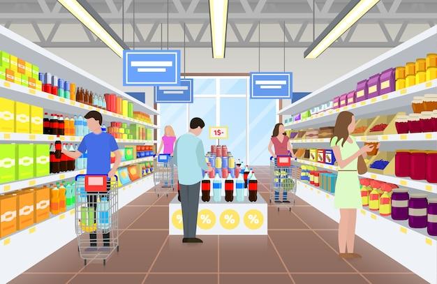 People at the supermarket on illustration Premium Vector