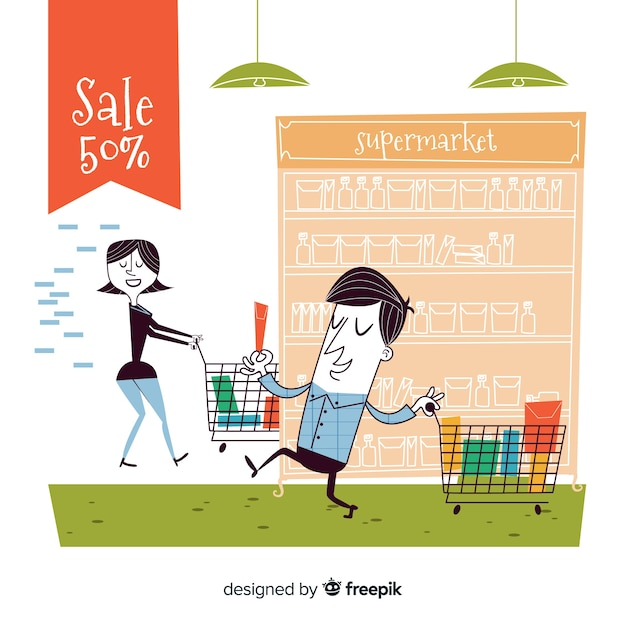 People in the supermarket Free Vector