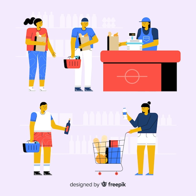 People at the supermarket Free Vector