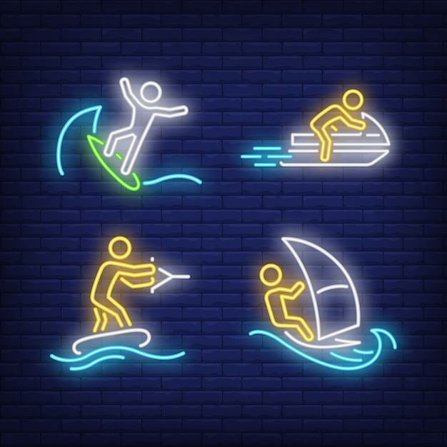People surfing, riding on jet ski and wakeboarding neon signs set Free Vector