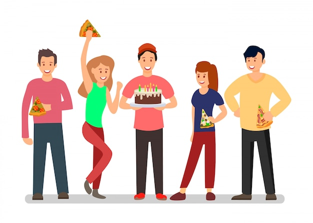People at surprise b-day party vector illustration Premium Vector