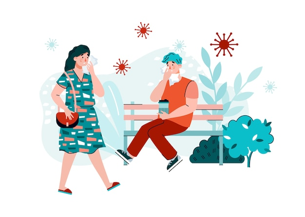 Люди окружены вирусными бактериями в общественном месте, плоская карикатура. распространение вирусных и инфекционных заболеваний и профилактика эпидемий. Premium векторы
