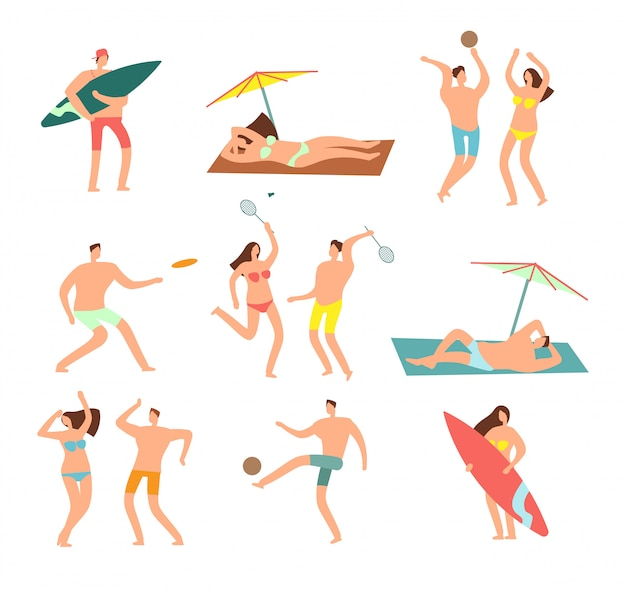 People in swimsuits in sea beach vecation. relaxing woman and man  characters Premium Vector