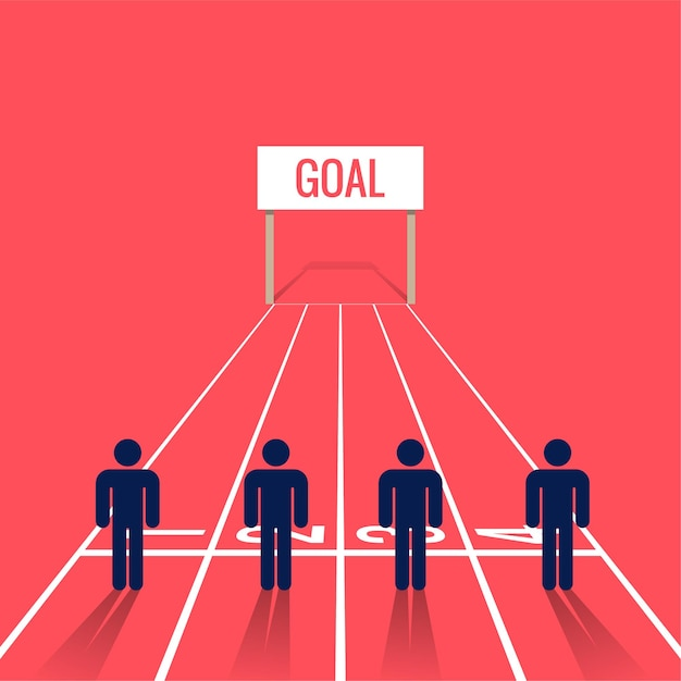 People symbol at starting line on a race. business competition  illustration Premium Vector