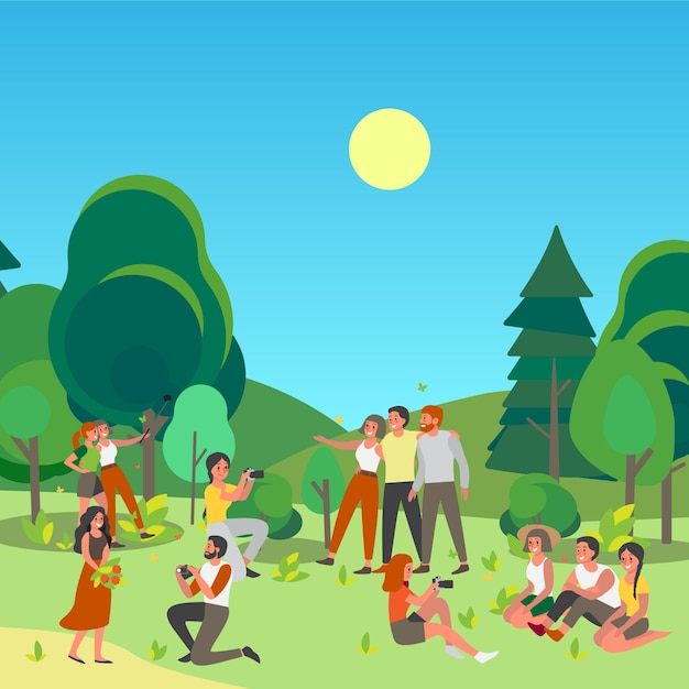 People tacking picture or making elfie together in public park. summer time with friends. characters taking photo of themselves outside. Premium Vector
