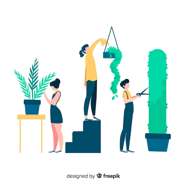 People taking care of plants, gardeners working Free Vector