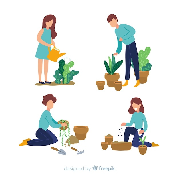 People taking care of plants Free Vector