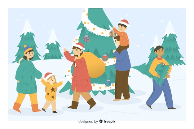 People taking gifts and christmas tree cartoon Free Vector