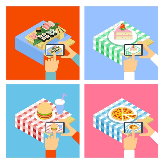 People taking photo of food with smartphone. illustration set Free Vector