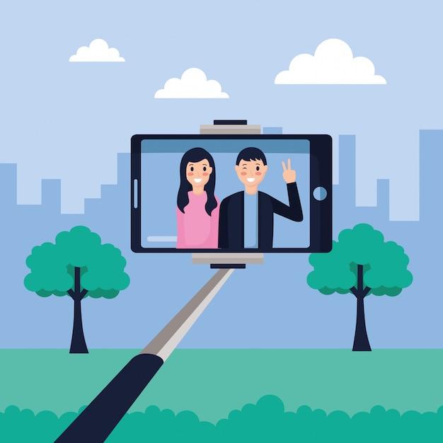 People taking selfie Free Vector