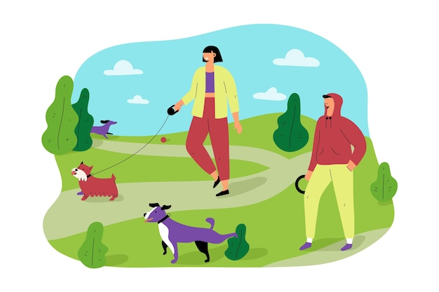 People taking a walk with their dogs in the park Free Vector