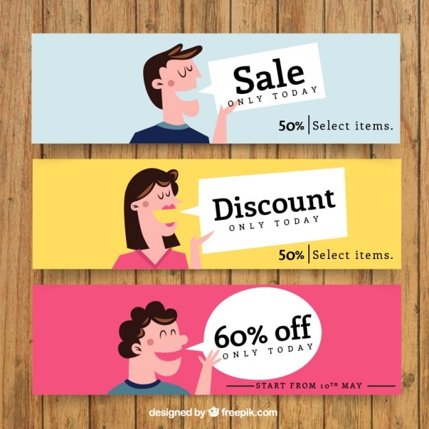 People talking about sales banners Free Vector