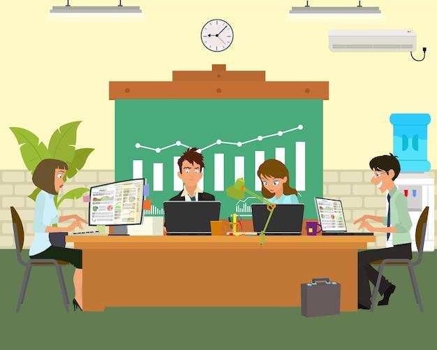 Люди разговаривают и работают за компьютерами. Premium векторы