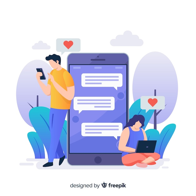People talking on dating app concept illustration Free Vector