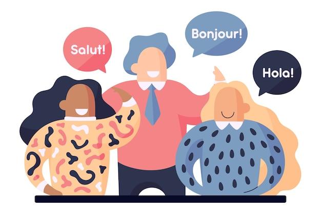 Люди говорят на разных языках Бесплатные векторы