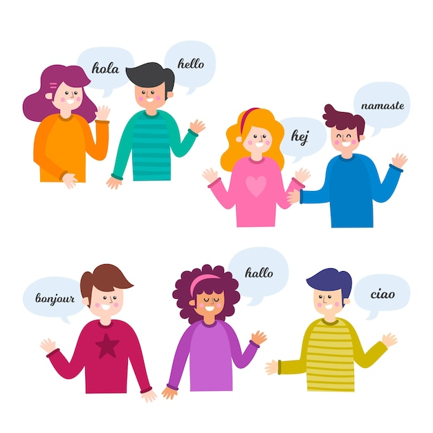 People talking in different languages Free Vector