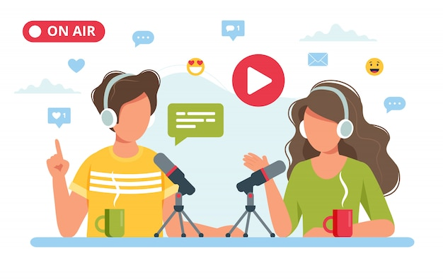 People talking to microphone recording podcast in studio. Premium Vector