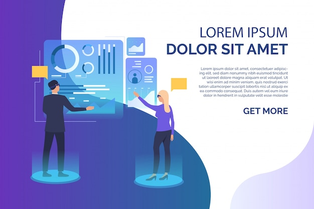 People tapping on futuristic virtual screens and sample text Free Vector