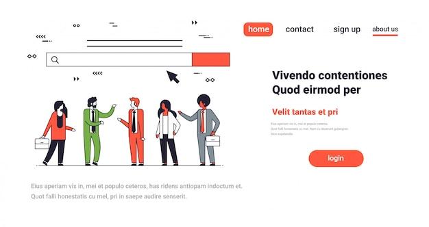 People team over web search bar online internet browsing concept website development horizontal Premium Vector