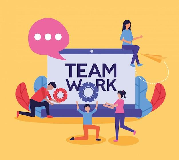 People teamwork flat design image Free Vector