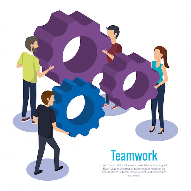 People teamwork with gears Free Vector
