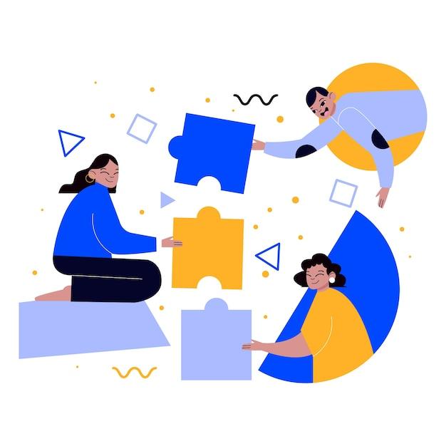 Persone che lavorano in team in un progetto illustrato Vettore gratuito