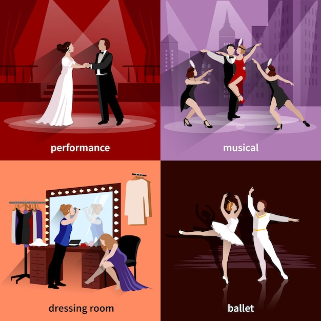 People on theater scenes performance musical ballet and in dressing room Free Vector