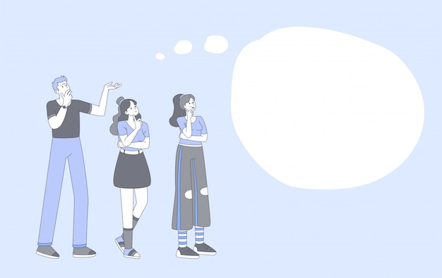People thinking, brainstorming outline illustration. young guy and stylish girls lineart characters with empty speech bubble isolated on blue background. group problem discussing, solution searching Premium Vector