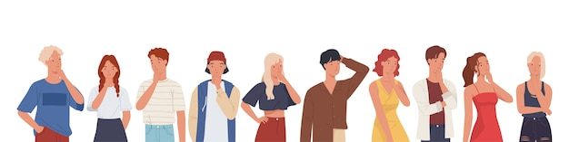 People thinking or making decision set, young man and woman thinking of something. Premium Vector
