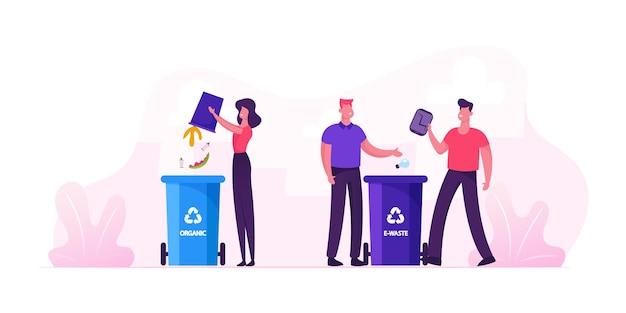 Люди выбрасывают мусор в контейнеры для органических отходов и урны для мусора с надписью recycle. городские жители собирают мусор. мультфильм плоский рисунок Premium векторы