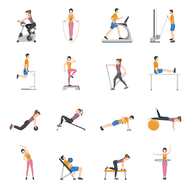 People training at gym icons set Free Vector