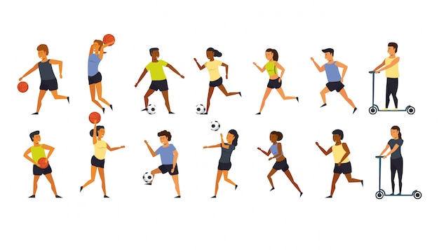 People training sports cartoon Free Vector