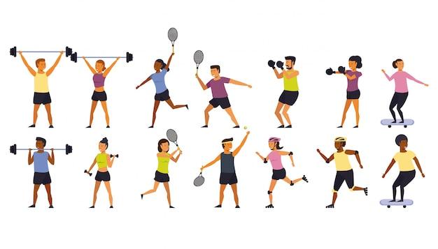People training sports cartoon Free Vector