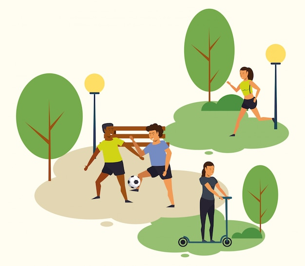 People training sports at park Free Vector