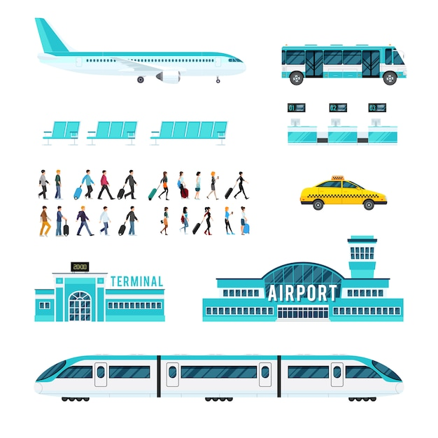 People transport and airport icons set Free Vector