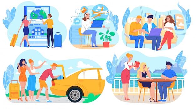 Люди путешествуют на самолете и машине, в командировке или на летних каникулах, набор героев мультфильмов, иллюстрация Premium векторы