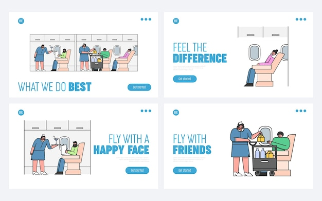 人々は乗客を乗せて飛行機で旅行します Premiumベクター