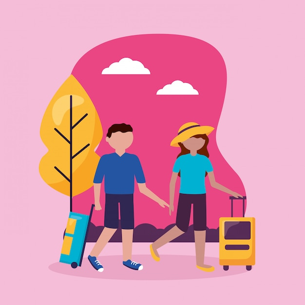 People and travel flat design Free Vector