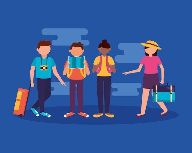 People and travel in flat style Free Vector