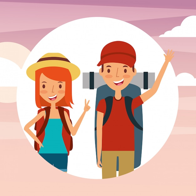 People travelers vacations Premium Vector