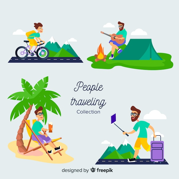 People traveling camping  collection Free Vector
