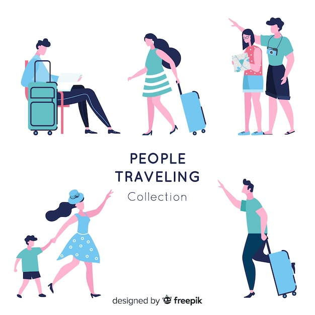 People traveling collection Free Vector