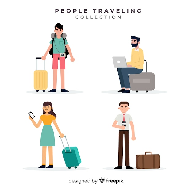 People traveling with suitcase collection Free Vector
