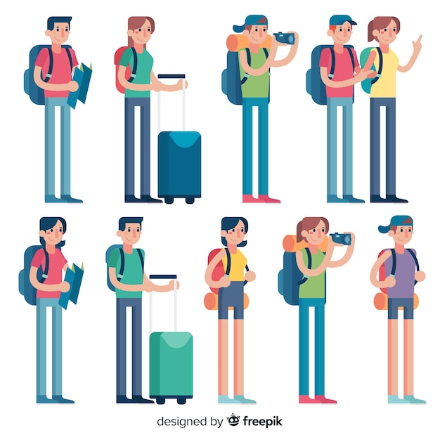 People travelling collection Free Vector